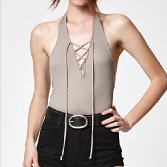 Kendall & Kylie Tops - Kendall & Kylie Taupe Halter Lace Up Top - Size XS